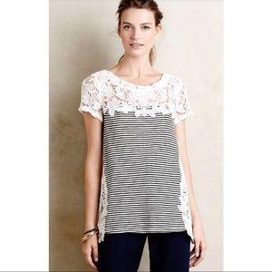 Anthro Meadow Rue black/ivory stripe Crochet Top 8